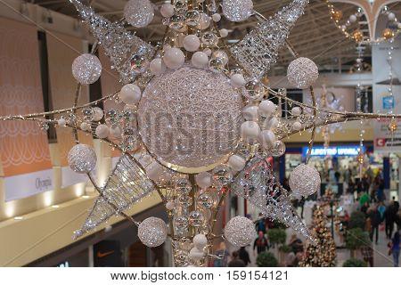 BRNO,CZECH REPUBLIC-NOVEMBER 19,2016:Christmas decoration at shopping center Olympia on November 19 ,2016 Brno Czech Republic