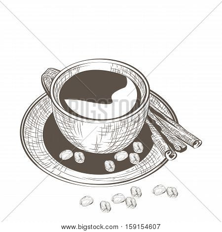Cup of coffee with fresh beans. Vector illustration engraved sketch style. Old engraving Hand drawn technique