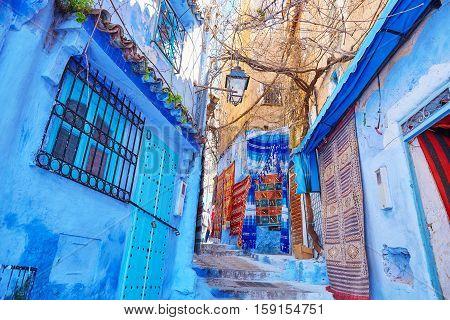Street In Medina Of Chefchaouen, Morocco