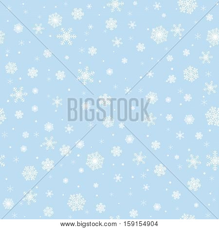 Christmas seamless pattern with white snowflakes on blue background