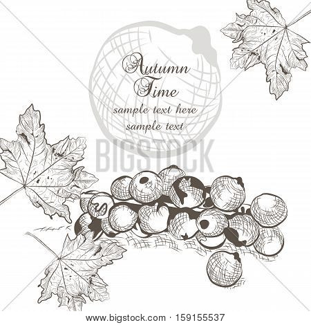 Autumn background with fruits and leaves. Vector fall season card. Old engraved illustration. Hand drawn ink technique