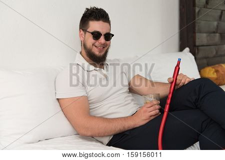 Man With Beard Relax Smoke Shisha