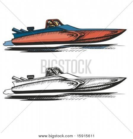 Power boat. Vector illustration