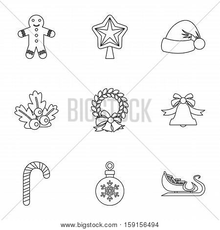 New year icons set. Outline illustration of 9 new year vector icons for web