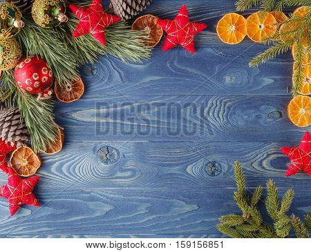 Christmas Decorative Rustic Frame, Spruce Twigs, Decorated Dry Orange Slices