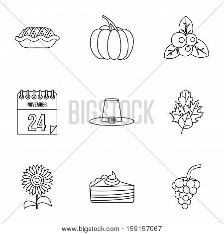 Public holiday of USA icons set. Outline illustration of 9 public holiday of USA vector icons for web