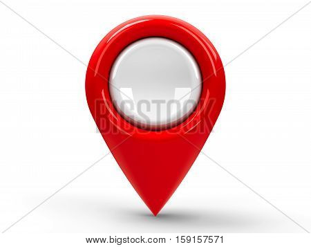 Red map pointer isolated on white background three-dimensional rendering 3D illustration