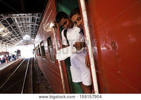 COLOMBO SRI LANKA - NOVEMBER 17 : KIDS IN TRAIN ON TRAIN STATION NOVEMBER 17 2015 IN HIKKADUWA SRI LANKA