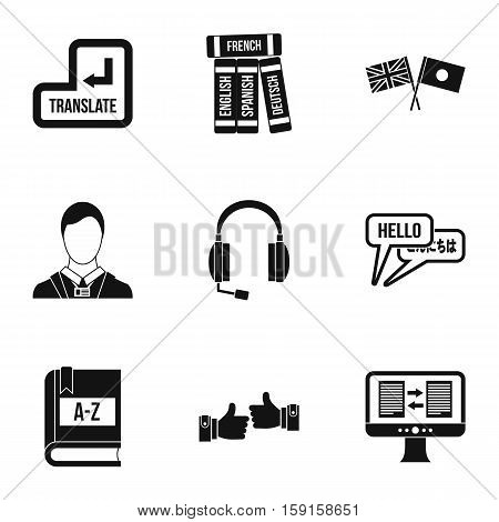 Language learning icons set. Simple illustration of 9 language learning vector icons for web