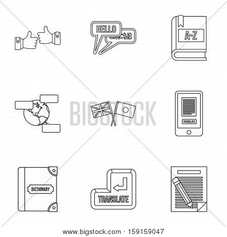Foreign language icons set. Outline illustration of 9 foreign language vector icons for web