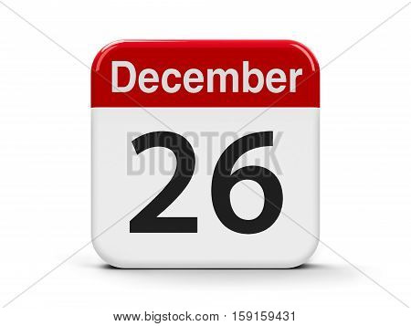Calendar web button - The Twenty Sixth of December - Boxing Day three-dimensional rendering 3D illustration