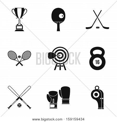 Sports equipment icons set. Simple illustration of 9 sports equipment vector icons for web