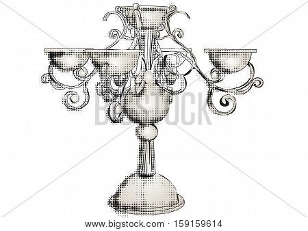 silver candelabrum isolated on the white background
