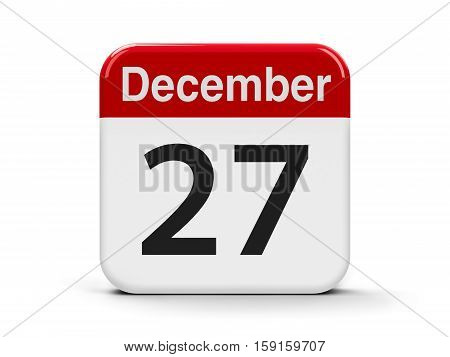 Calendar web button - The Twenty Seventh of December three-dimensional rendering 3D illustration