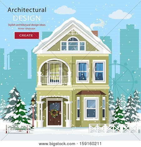 Front view of suburban home in snowfall. Cute graphic house with trees. Winter landscape with city background. Flat style vector illustration.