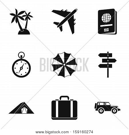 Rest on sea icons set. Simple illustration of 9 rest on sea vector icons for web