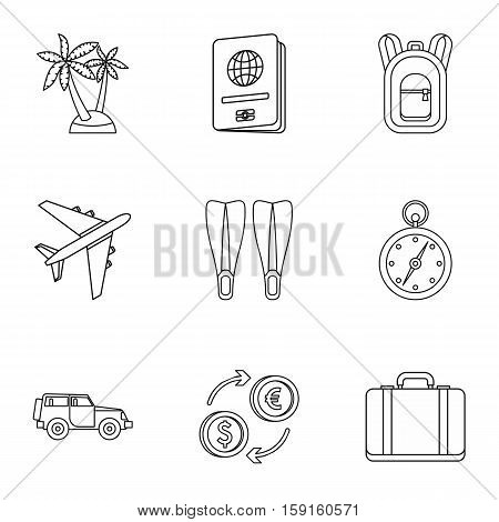 Tourism at sea icons set. Outline illustration of 9 tourism at sea vector icons for web