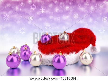 pink and silver christmas balls with santa red hat on bokeh background - 3D illustration
