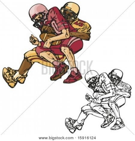 American football players. Vector illustration