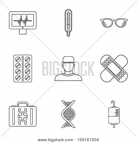 Healing icons set. Outline illustration of 9 healing vector icons for web