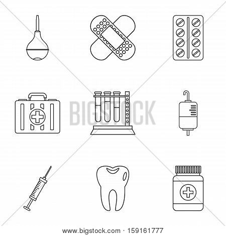 Diagnosis icons set. Outline illustration of 9 diagnosis vector icons for web