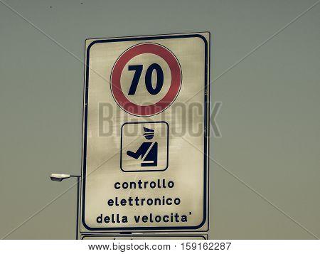 Vintage Looking Maximum Speed Sign