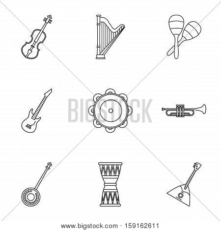 Musical device icons set. Outline illustration of 9 musical device vector icons for web