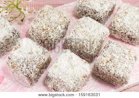 delicious home made lamingtons on a white plate