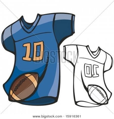 American football shirt and a ball. Vector illustration