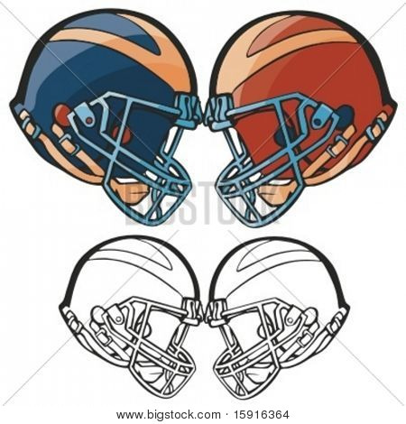 American football helmets. Vector illustration