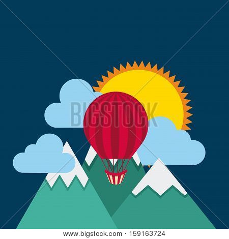 air balloon flying over mountains over blue background. colorful design. vector illustration