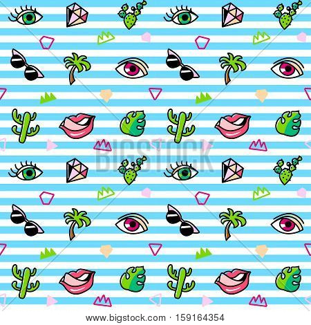 Seamless pattern with fashion patches. Pop art. Vector background in cartoon 80s-90s comic style. Trend. Lips, eyes, leafs, palms, glasses, cactus. Vector clip-art