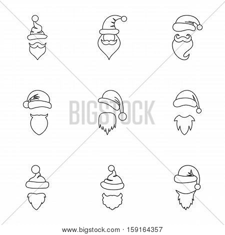 Wizard Santa Claus icons set. Outline illustration of 9 wizard Santa Claus vector icons for web