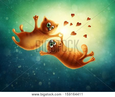 Illustration of red cats flying