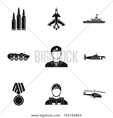 Equipment for war icons set. Simple illustration of 9 war vector icons for web