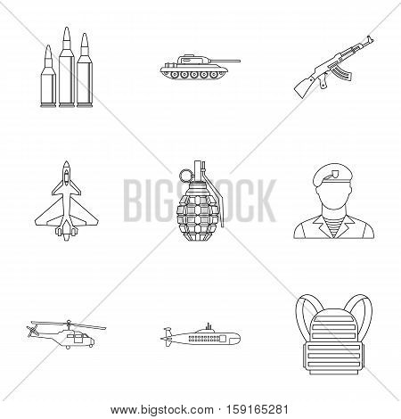 Military defense icons set. Outline illustration of 9 military defense vector icons for web