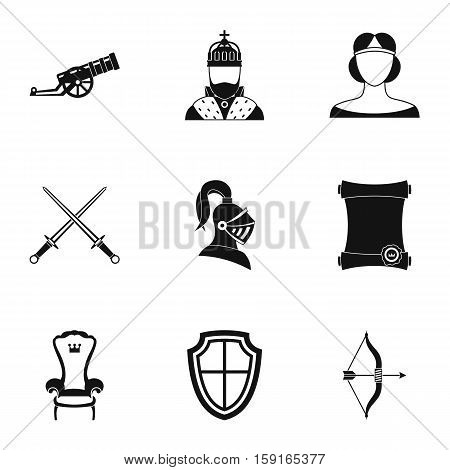 Knight icons set. Simple illustration of 9 knight vector icons for web