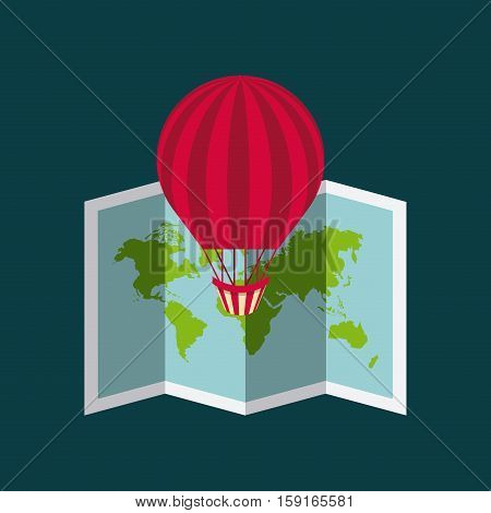 air balloon and world map icon. colorful design. vector illustration