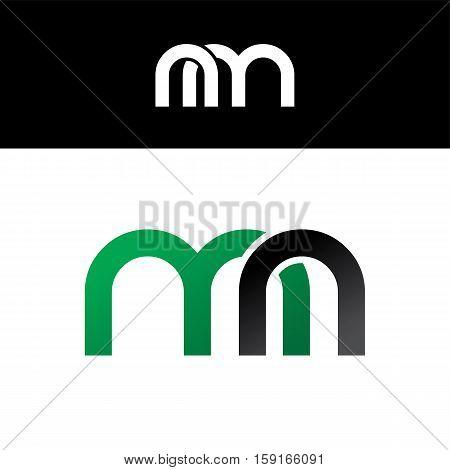 Initial Letter Linked Overlapped Uppercase Logo Green Black