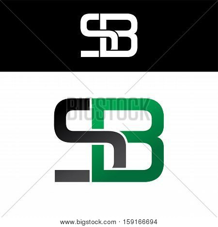 Initial Letter Linked Overlapped Uppercase Logo Green Black