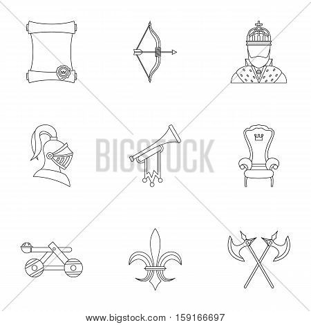 Medieval knight icons set. Outline illustration of 9 medieval knight vector icons for web