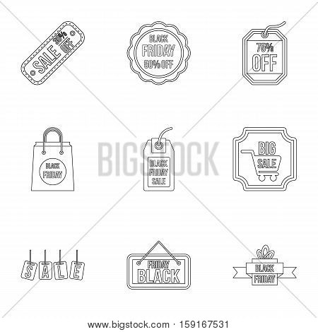 Black friday icons set. Outline illustration of 9 black friday vector icons for web
