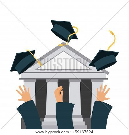 hands throwing graduation hats over academic building icon and white background. colorful design. vector illustration