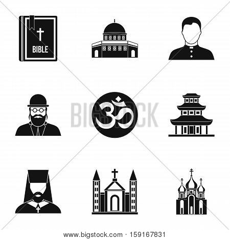 Religion icons set. Simple illustration of 9 religion vector icons for web