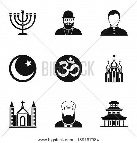 Beliefs icons set. Simple illustration of 9 beliefs vector icons for web