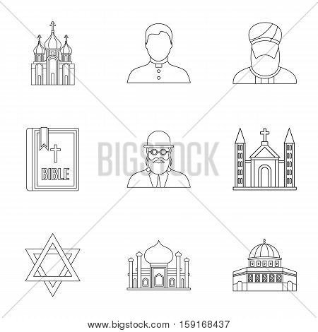 Religious faith icons set. Outline illustration of 9 religious faith vector icons for web