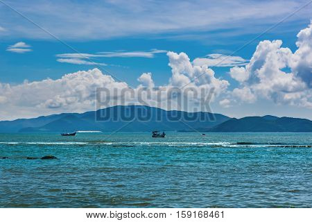 A view of the Vinpearl island from Nha Trang bay in Vietnam.