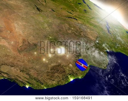 Swaziland With Flag In Rising Sun