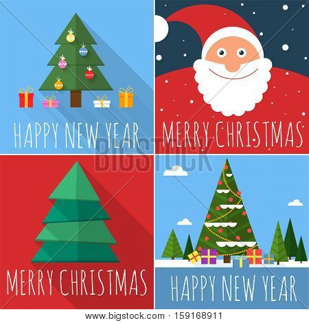 Flat design Christmas and New Year greeting card vector template set.
