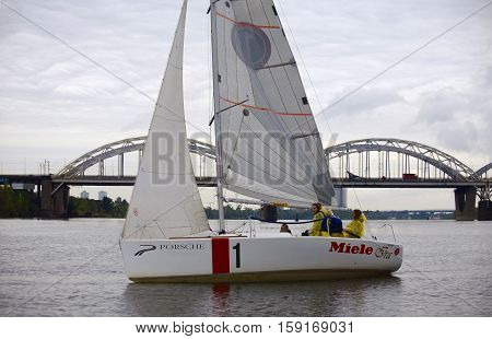 Kyiv, Ukraine - August 12, 2016:Sailing school in Kiyv, Ukraine - August 2016 - Young people learning to sail in the harbor at Dniper river Ukraine before International Regatta Hetman Cup, ISAF Grade 2, run in Ukraine